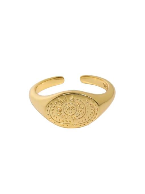 South 18K gold [Slightly darker} 925 Sterling Silver Geometric Vintage Band Ring